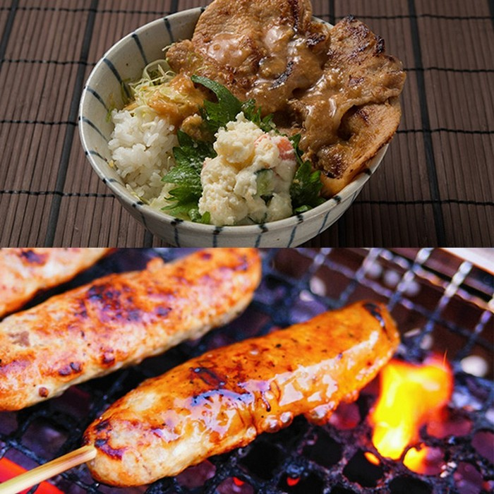 「十和田豚みそ丼」と「牛タンつくね串」